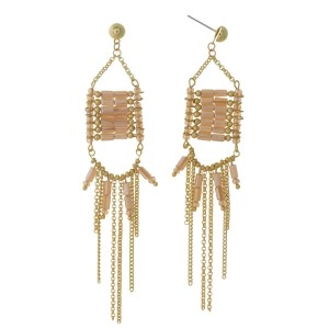"Gold tone post earrings with topaz beads and chain fringe. Approximately 4"" in length."