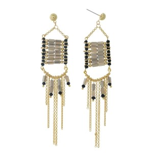 "Gold tone post earrings with black and gray beads and chain fringe. Approximately 4"" in length."