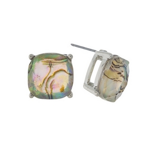 "Gold tone stud earrings with an abalone rhinestone. Approximately 1/2"" in length."
