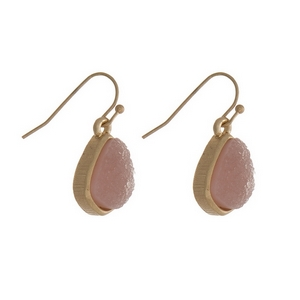 "Dainty gold tone fishhook earrings with a pale pink faux druzy stone. Approximately 1/2"" in length."