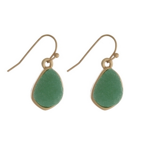 "Dainty gold tone fishhook earrings with a mint green faux druzy stone. Approximately 1/2"" in length."