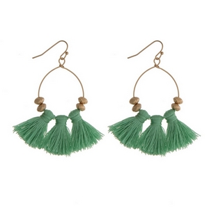 """Gold tone fishhook earrings with three mint green fabric tassels. Approximately 2"""" in length."""