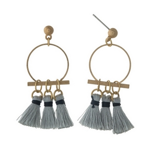 """Gold tone post earrings with an open circle and gray fabric tassels. Approximately 1.5"""" in length."""