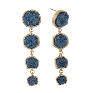 "Gold tone post style earrings with four navy blue faux druzy stones. Approximately 2.5"" in length."