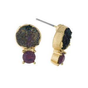 "Gold tone stud earrings with a black druzy stone and a pink rhinestone. Approximately 1/2"" in length."