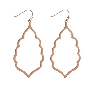 "Rose gold tone fishhook earrings with an open scalloped shape. Approximately 2.5"" in length."