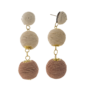 """Ivory to brown ombre thread wrapped bead earrings. Approximately 3"""" in length."""
