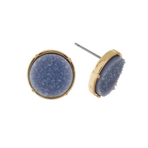 "Gold tone stud earrings with a gray, circle shaped faux druzy stone. Approximately 1/2"" in diameter."