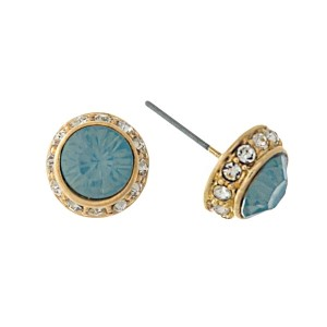 "Gold tone stud earrings with an opal rhinestone. Approximately 1/4"" in diameter."