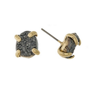 "Gold tone stud earrings with a gray druzy stone. Approximately 1/3"" in length."