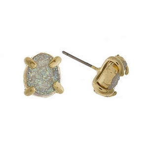 "Gold tone stud earrings with a white iridescent druzy stone. Approximately 1/3"" in length."