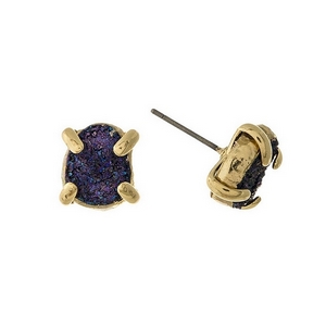 "Gold tone stud earrings with a navy blue druzy stone. Approximately 1/3"" in length."