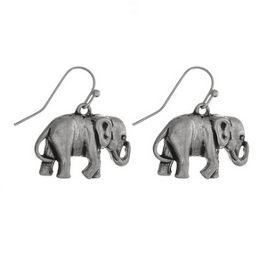"Silver tone fishhook earrings with an elephant. Approximately 3/4"" in length."