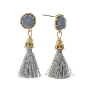 """Gold tone stud earrings with a gray faux druzy stone and a thread tassel. Approximately 2"""" in length."""