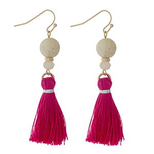 "Gold tone fishhook earrings with amazonite beads and a pink thread tassel. Approximately 2"" in length."