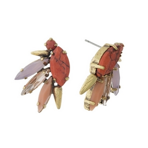 "Gold tone stud earrings with red, pink and coral rhinestones. Approximately 1"" in length."