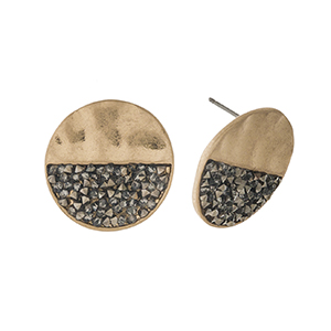"Gold tone stud earrings with crushed hematite stones. Approximately 3/4"" in diameter."