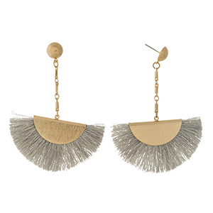 "Gold tone stud earrings with a gray fanned tassel. Approximately 3"" in length."