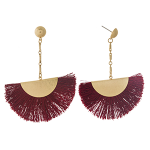 "Gold tone stud earrings with a burgundy fanned tassel. Approximately 3"" in length."