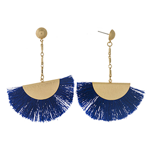 """Gold tone stud earrings with a royal blue fanned tassel. Approximately 3"""" in length."""