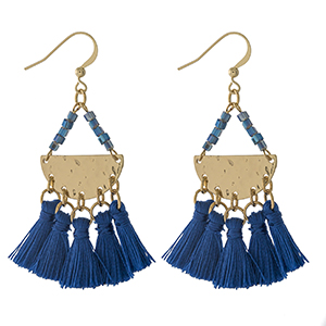 "Gold tone fishhook earrings with blue beads and four royal blue thread tassels. Approximately 2.5"" in length."