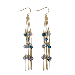 "Gold tone fishhook earrings with navy blue beaded fringe earrings. Approximately 3"" in length."