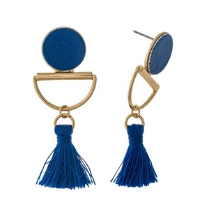 "Gold tone stud earrings with a royal blue faux leather circle and a thread tassel. Approximately 2"" in length."
