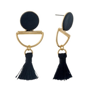 """Gold tone stud earrings with a black faux leather circle and a thread tassel. Approximately 2"""" in length."""