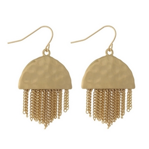 "Gold tone fishhook earrings with a hammered half circle shape and metal fringe. Approximately 1.5"" in length."