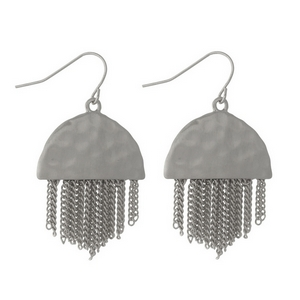 "Silver tone fishhook earrings with a hammered half circle shape and metal fringe. Approximately 1.5"" in length."
