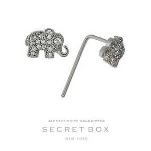 "Secret Box 24 karat white gold dipped over brass elephant stud earrings. Approximately 1/4"" in length. Sold in a gift box."