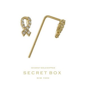 Secret Box 14 Karat Gold over brass breast cancer awareness stud earrings. 7mm in length. Sold in gift box.