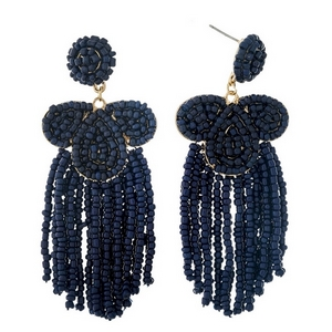 """Navy blue beaded statement earrings with beaded fringe. Approximately 3.25"""" in length."""