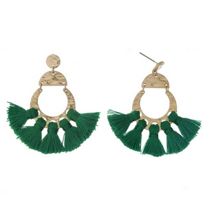 "Gold tone post style earrings with five green tassels. Approximately 2"" in length."