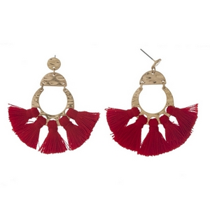 "Gold tone post style earrings with five red tassels. Approximately 2"" in length."