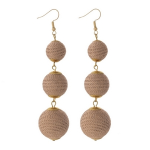 """Gold tone fishhook earrings with three metallic rose gold thread wrapped beads. Approximately 4"""" in length."""