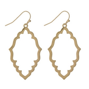 "Gold tone fishhook earrings with an open moroccan shape. Approximately 1.5"" in length."