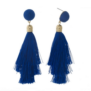 "Gold tone stud earrings with a blue thread wrapped bead and tapered tassel. Approximately 3.5"" in length."