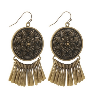 "Gold tone fishhook earrings with a circle focal and metal fringe. Approximately 2.5"" in length."