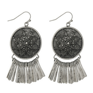 "Silver tone fishhook earrings with a circle focal and metal fringe. Approximately 2.5"" in length."