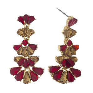 """Gold tone stud earrings with red and topaz rhinestones. Approximately 1.75"""" in length."""