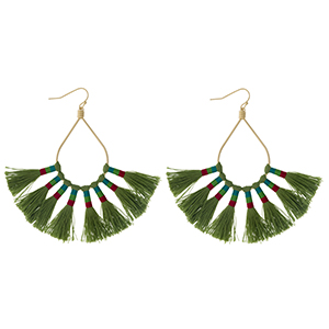 "Gold tone fishhook earrings with an open oval shape and eight olive green thread tassels. Approximately 3.25"" in length."