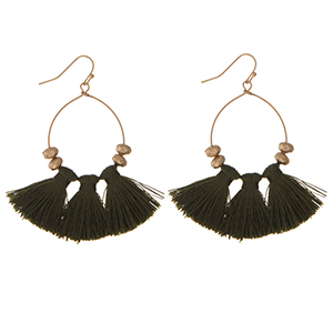 """Gold tone fishhook earrings with three black fabric tassels. Approximately 2"""" in length."""