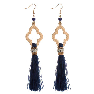 """Gold tone fishhook earrings with an open clover shape and a thread tassel. Approximately 5"""" in length."""