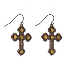 """Burnished metal, fishhook, cross earrings with rhinestone accents. Approximately 1.5"""" in length."""