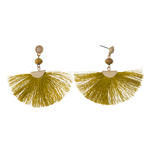"Gold tone post earrings with a gold fan tassel and a faceted bead accent. Approximately 2.25"" in length."