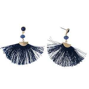 "Gold tone post earrings with a navy blue fan tassel and a faceted bead accent. Approximately 2.25"" in length."