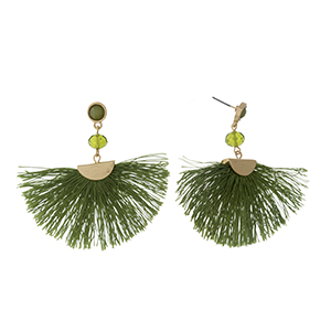 "Gold tone post earrings with an olive green fan tassel and a faceted bead accent. Approximately 2.25"" in length."