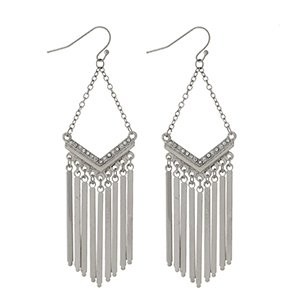 """Silver tone fishhook earrings with metal fringe and clear rhinestone accents. Approximately 3"""" in length."""