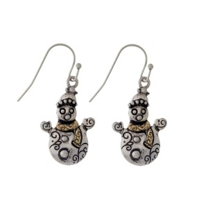 """Silver tone fishhook earrings with a two tone snowman. Approximately 1"""" in length."""